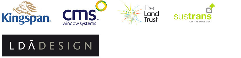 sponsors for Sustainable Building, Kingspan, CMS, The Land Trust, Sustrans, LDA Design