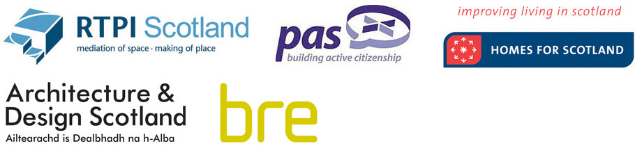 Supporting Partners Sustainable Building, RTPI, PAS, Homes For Scotland, Architecture and Design Scotland, BRE