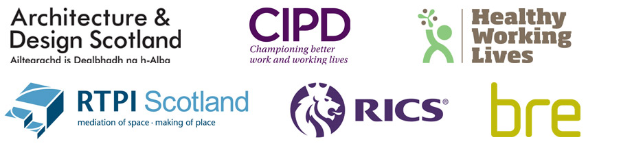 Supporting Partners Shaping the Future, Architecture and Design Scotland, CIPD, Healthy Working Lives, RTPI, RICS, bre